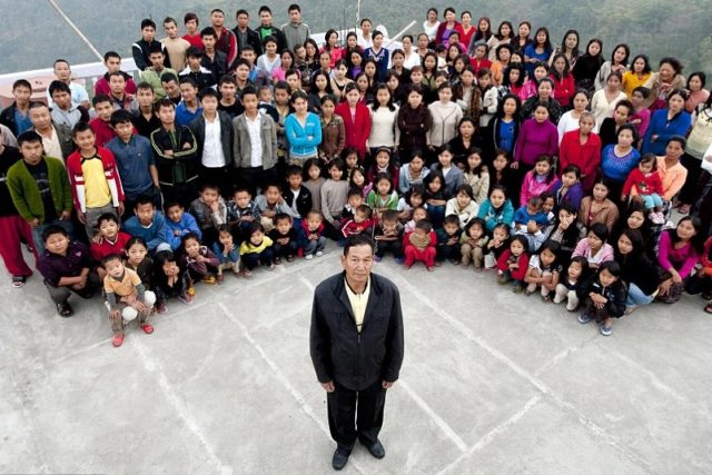 Ziona Chana-Head of the World's Largest Family in Mizoram, with 39 Wives